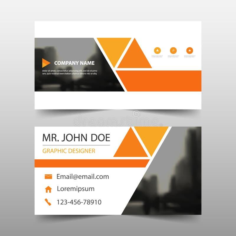 橙色三角公司业务卡片,名片模板,水平的简单的干净的布局设计模板,企业模板 皇族释放例证