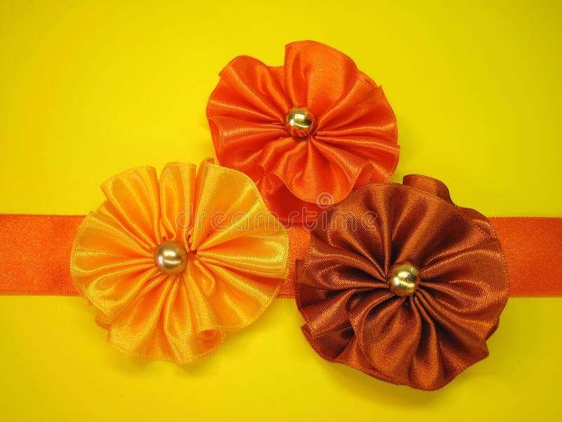 橙色丝带 库存照片