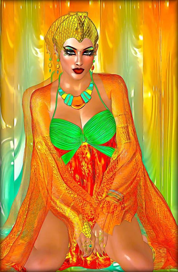 橙色丝绸的埃及公主和与美丽的时尚化妆用品的鲜绿色,组成和金冠 库存照片
