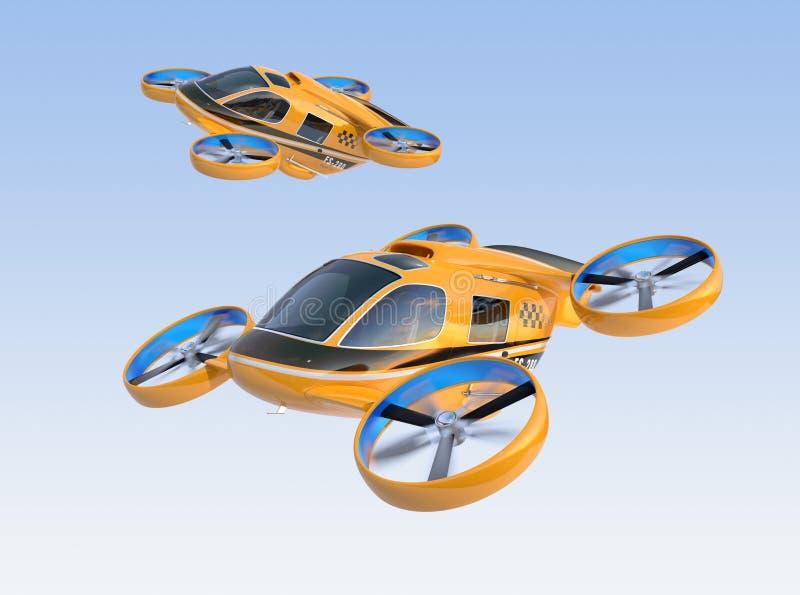 橙色乘客寄生虫乘出租车在天空的飞行 向量例证