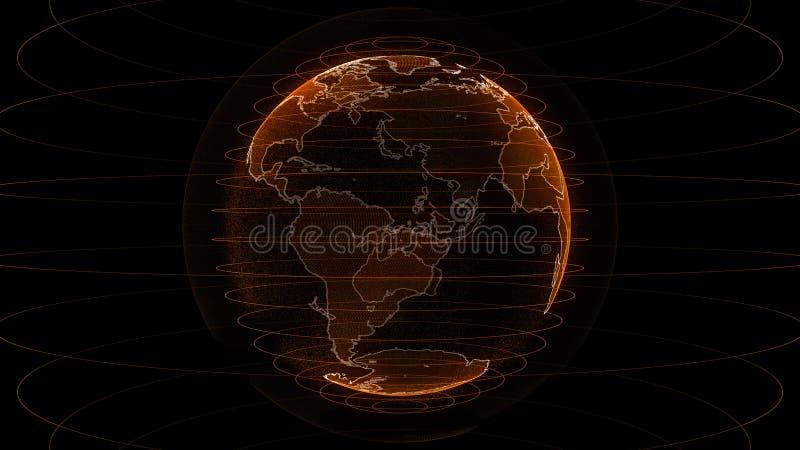 橙色全球网络,例证地球地图微粒 向量例证