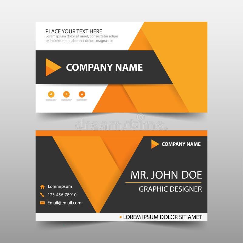 橙色公司业务卡片,名片模板,水平的简单的干净的布局设计模板,企业横幅模板 皇族释放例证
