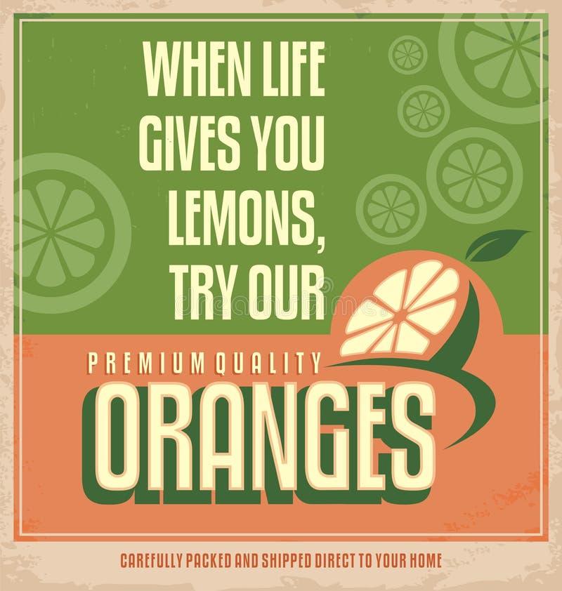 橙色减速火箭的创造性的海报设计观念 库存例证