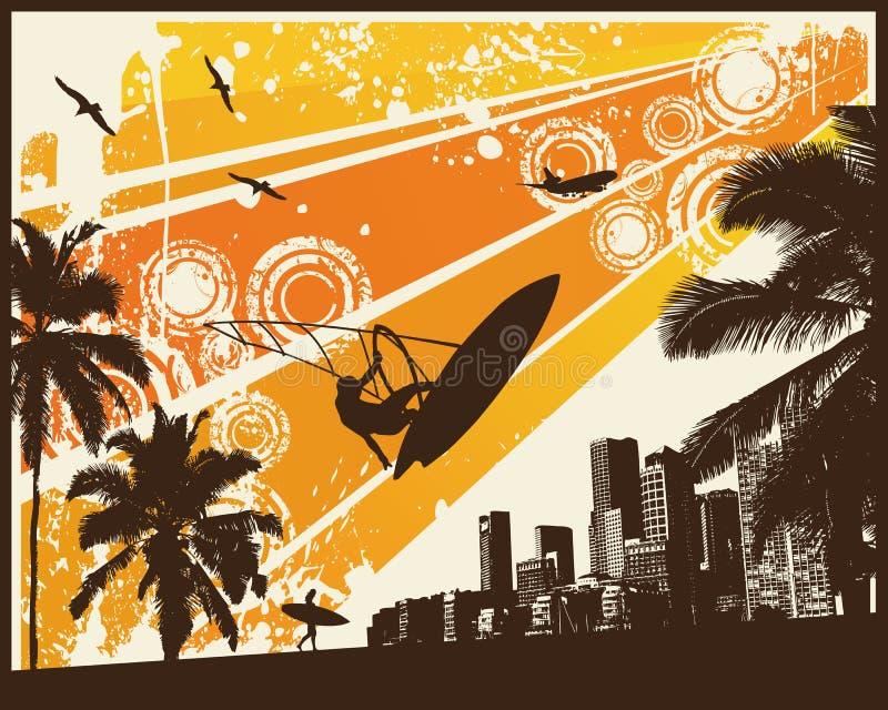 橙色减速火箭的日落 皇族释放例证