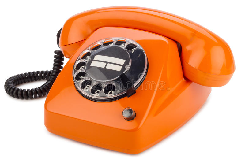 橙色减速火箭的电话 免版税库存照片