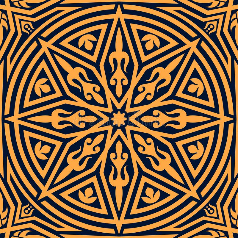 橙色几何装饰品的阿拉伯花卉样式 皇族释放例证