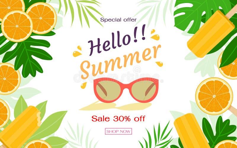 橙色切片和柑橘味道冰棍儿与热带叶子 夏天销售横幅模板 r 免版税图库摄影