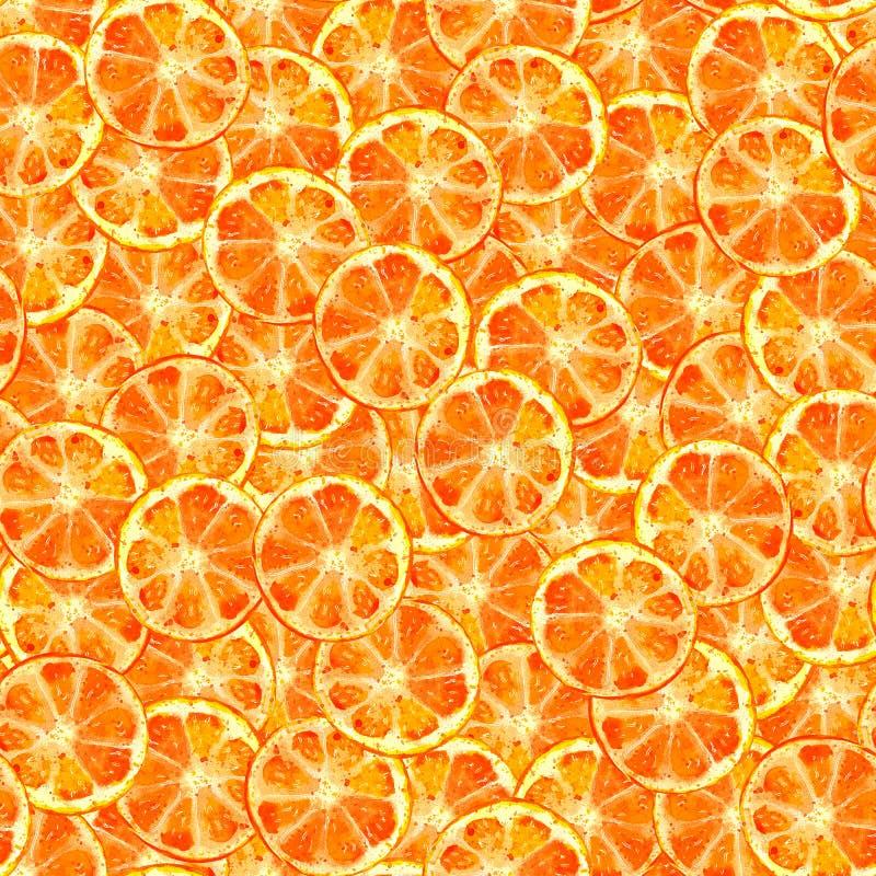 橙色切片无缝的样式水彩 库存例证