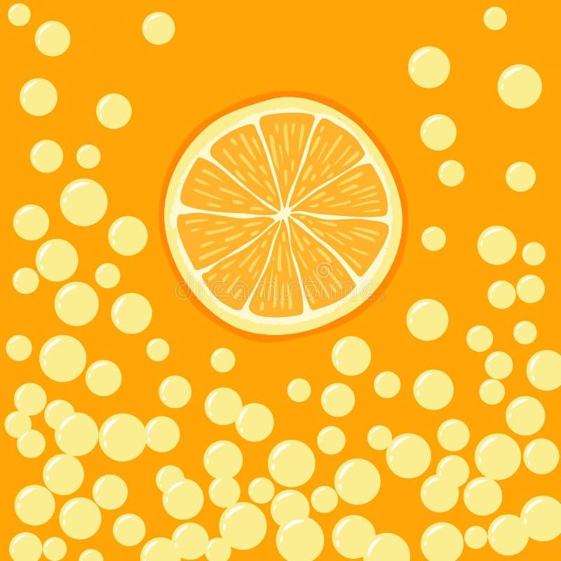 橙色切片的例证在起泡的饮料的 向量例证