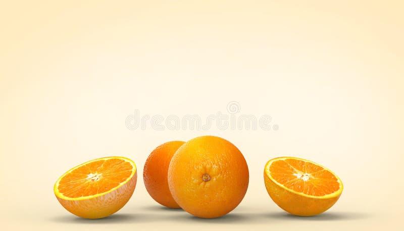 橙色切片结果实创造性新概念在橙色背景的夏天休假和艺术品 皇族释放例证