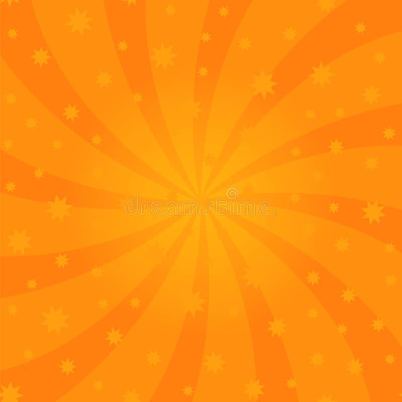 橙色动画片漩涡设计 螺旋自转光芒 打旋的辐形满天星斗的样式 与太阳光束的天空 库存例证