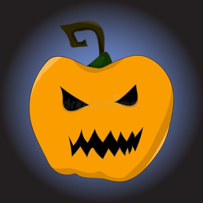 橙色南瓜的图象与一个可怕的杯子的在动画片样式 在万圣夜题材的例证  向量 向量例证