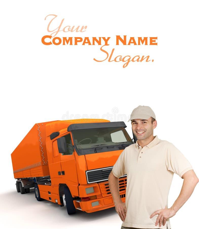 橙色卡车司机 免版税图库摄影