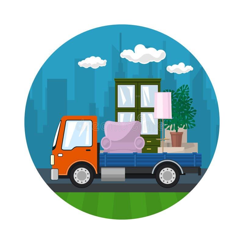 橙色卡车运输家具 向量例证