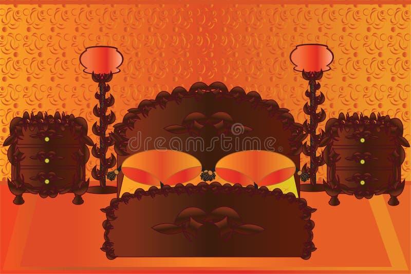 橙色卧室 皇族释放例证