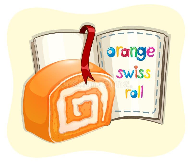 橙色卷蛋糕和书 库存例证