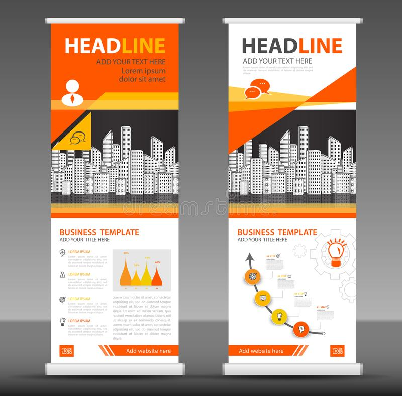 橙色卷起横幅立场模板设计,企业小册子飞行物, infographics,介绍 皇族释放例证
