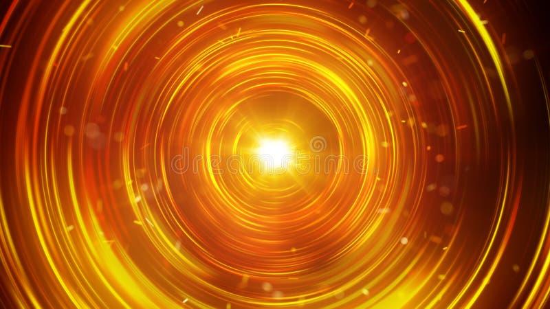 橙色发光的圈子抽象未来派背景 库存例证