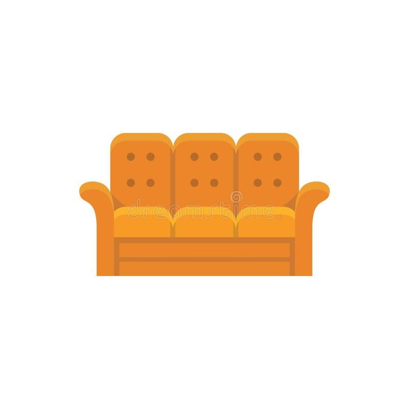 橙色可躺式椅 3 seaters沙发 也corel凹道例证向量 平的象 向量例证