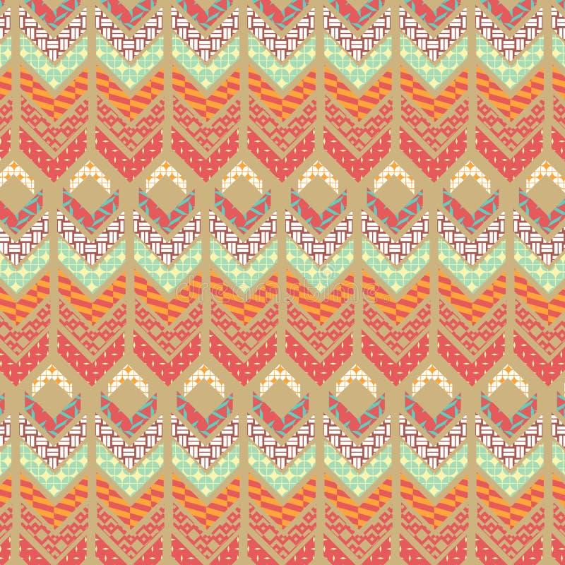 橙色和米黄现代部族几何重复的样式 向量例证