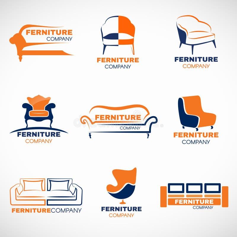 橙色和蓝色家具商标传染媒介布景 向量例证