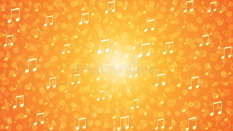 橙色和黄色背景中的音乐音符爆炸 库存例证