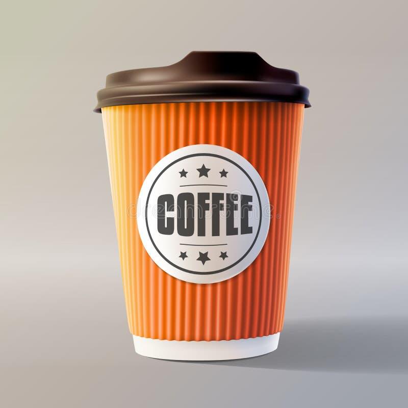 橙色咖啡波纹杯 10 eps例证层状向量 皇族释放例证