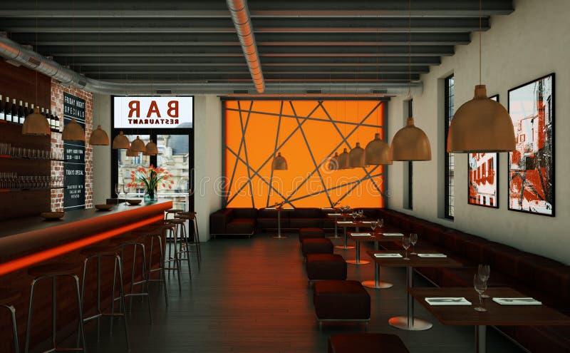 橙色咖啡餐馆室内与木家具 皇族释放例证