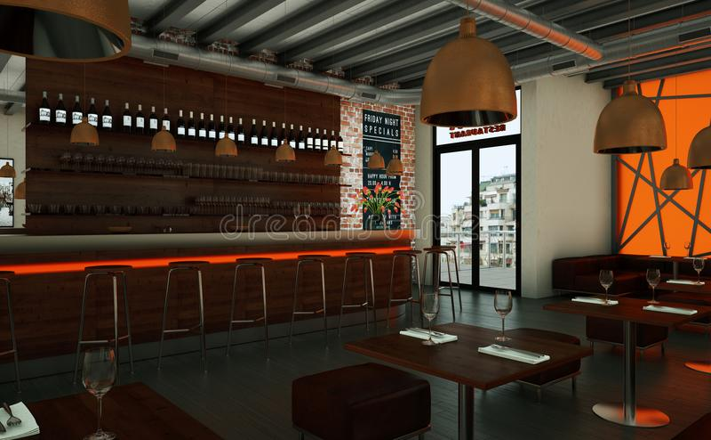 橙色咖啡餐馆室内与木家具 库存例证