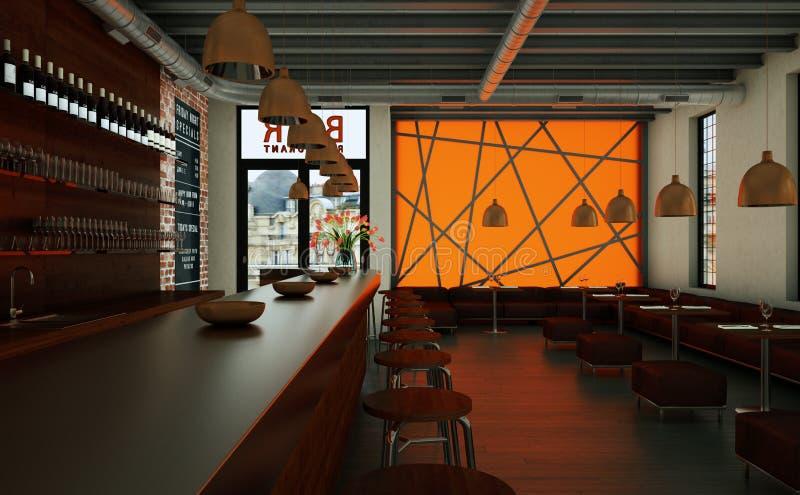橙色咖啡餐馆室内与木家具 向量例证