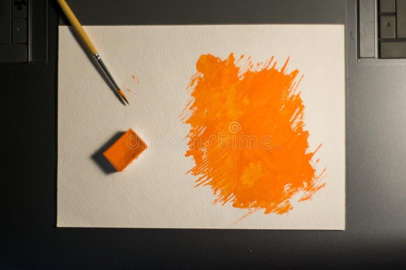 橙色图绘与水彩 图库摄影