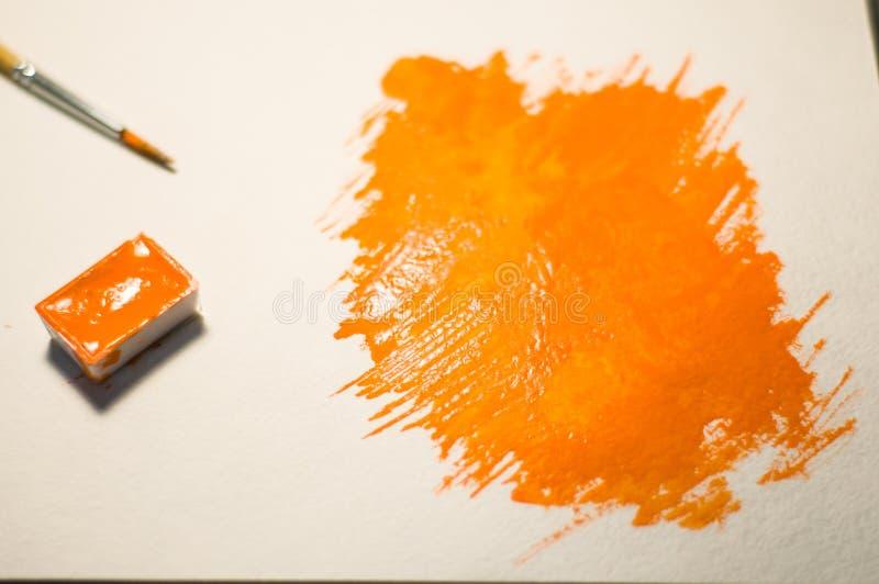 橙色图绘与水彩 向量例证