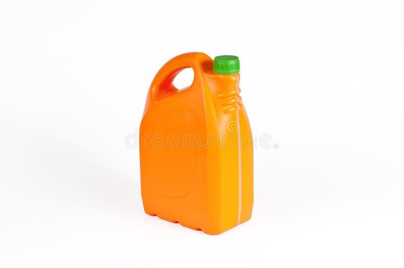 橙色塑料五加仑装之汽油罐 库存照片
