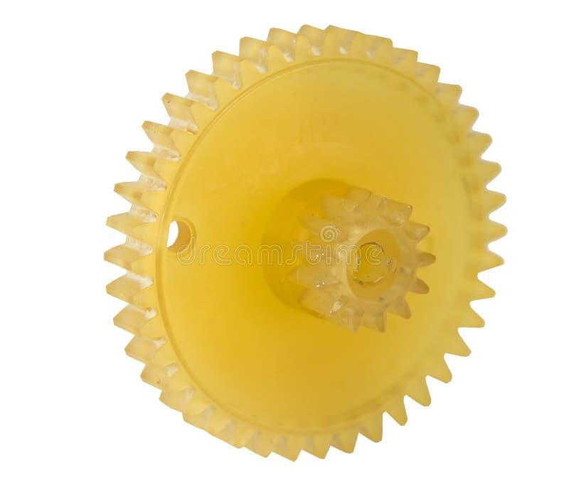 橙色塑料齿轮 免版税图库摄影