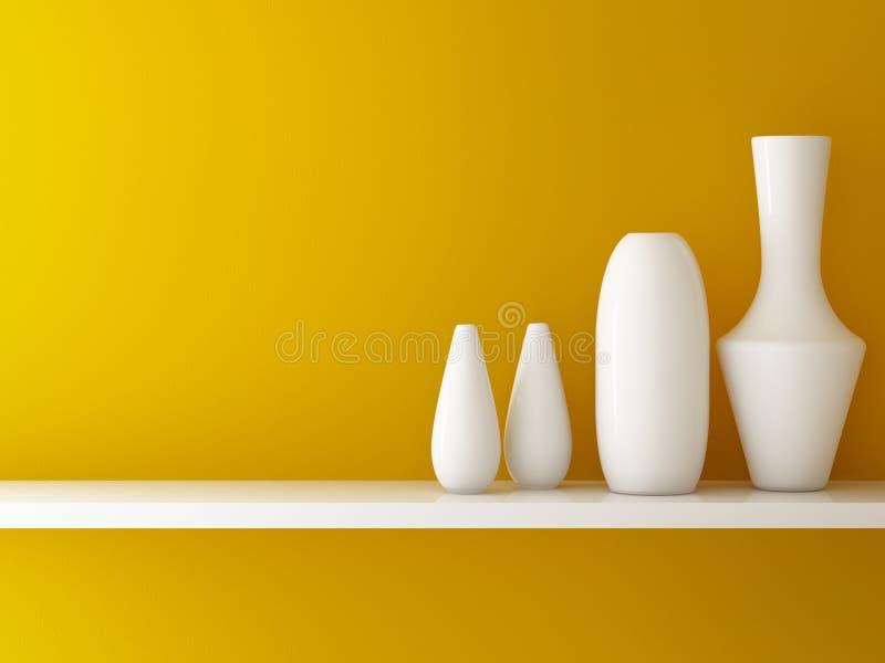 橙色墙壁内部和陶瓷在架子 向量例证