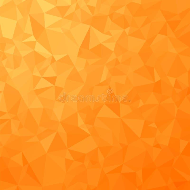 橙色多角形背景 三角的模式 低多纹理 抽象马赛克现代设计 Origami样式 向量例证