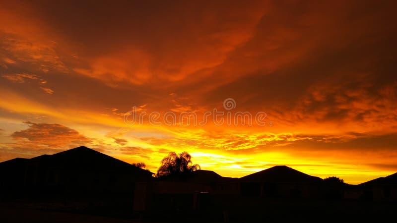 橙色天空 库存照片