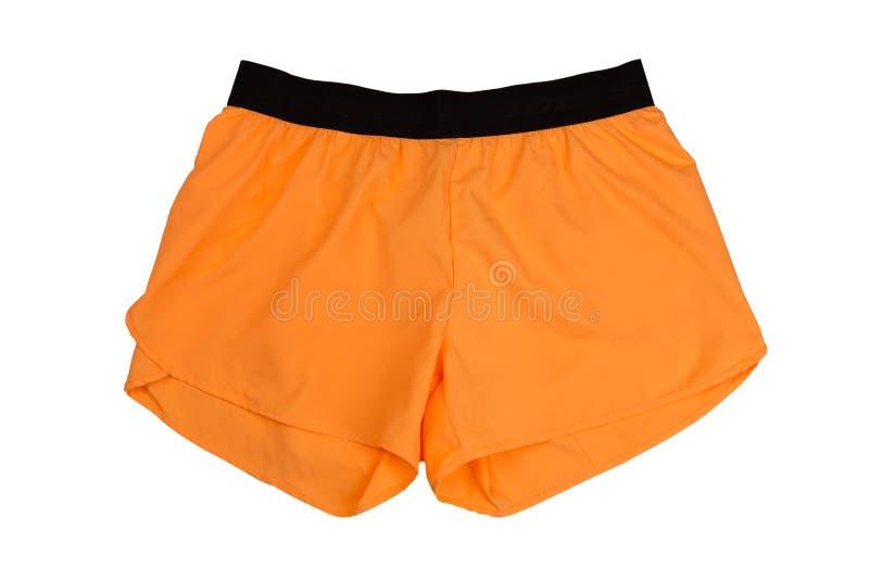 橙色妇女` s炫耀短裤 孤立 免版税库存照片