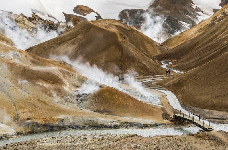 橙色小山的Kerlingarfjoll冰岛四个人 免版税库存图片