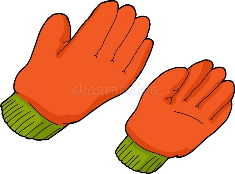 橙色工作手套 库存例证