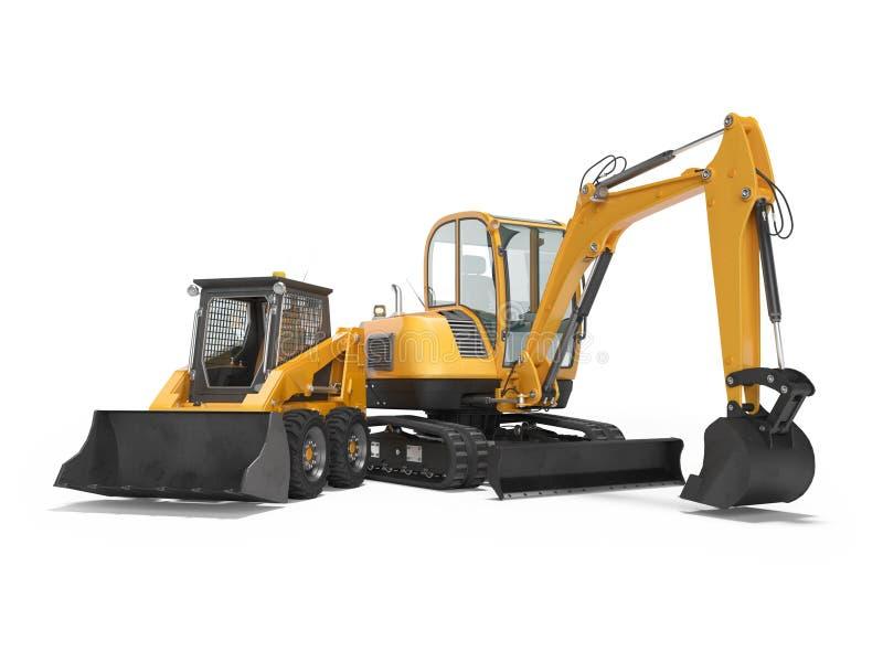 橙色微型履带牵引装置挖掘机和微型装载者在与阴影的白色背景隔绝3d回报 皇族释放例证