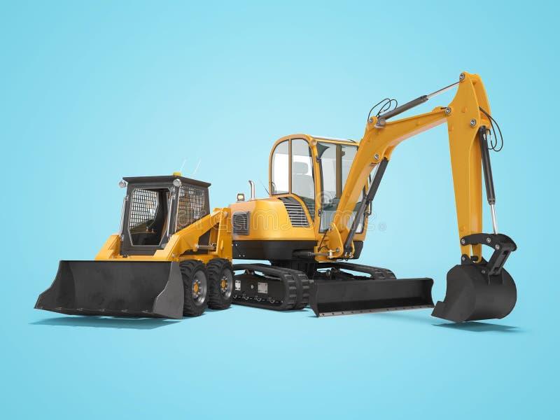 橙色微型履带牵引装置挖掘机和微型装载者在与阴影的蓝色背景隔绝3d回报 向量例证