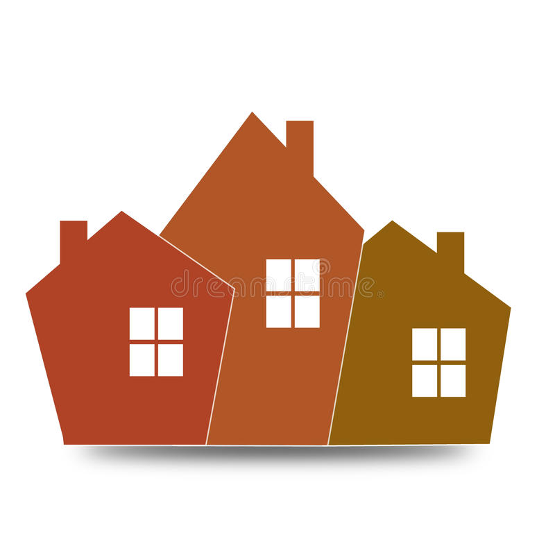橙色房子象 库存例证