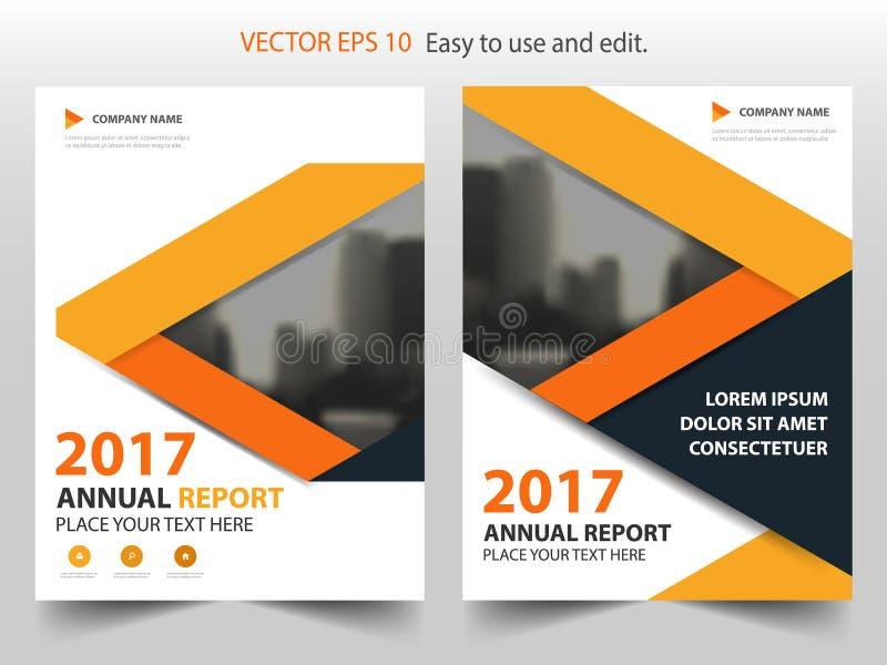 橙色抽象三角年终报告小册子设计模板传染媒介 企业飞行物infographic杂志海报 摘要 向量例证