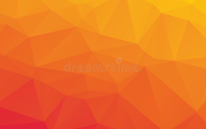 橙色抽象低多传染媒介背景 皇族释放例证
