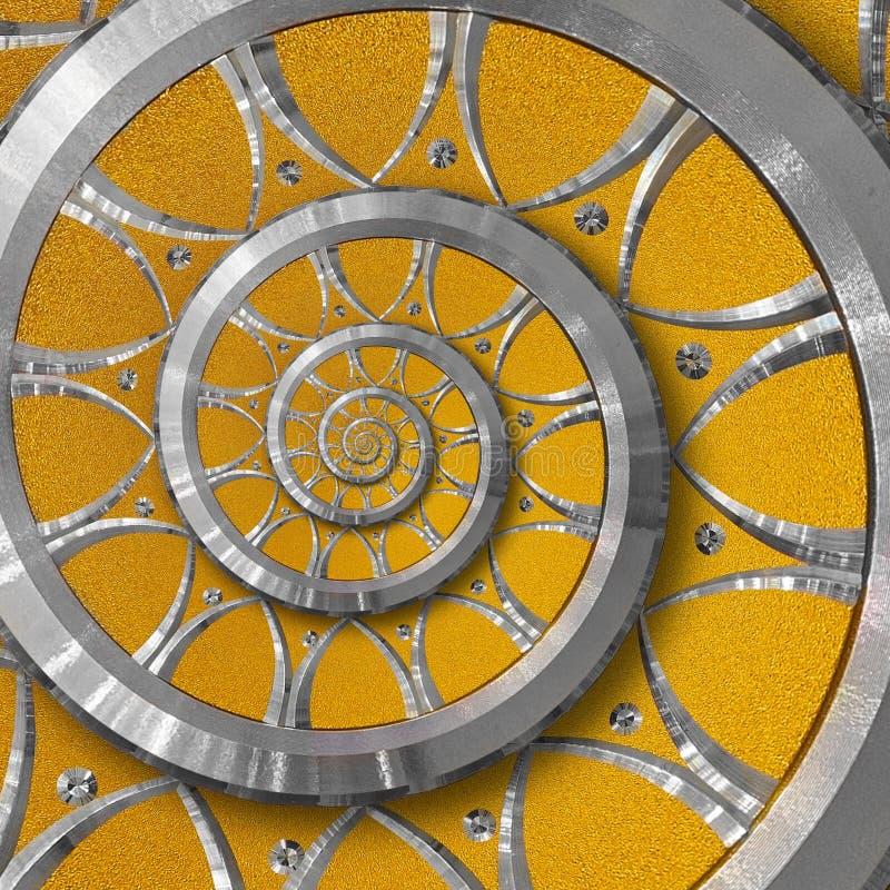 橙色抽象圆的螺旋背景样式分数维 银色金属螺旋橙色装饰装饰品元素 金属装饰 库存照片