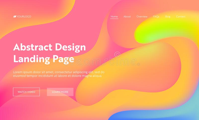 橙色抽象波浪着陆页背景设计 时髦数字黄色梯度样式五颜六色的盖子 液体 皇族释放例证