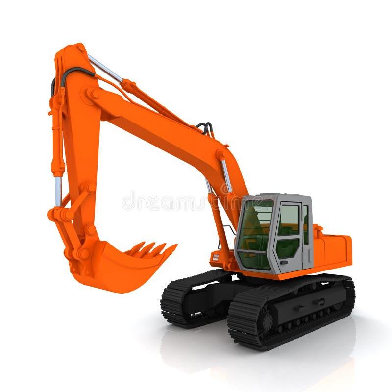 橙色挖掘机 皇族释放例证