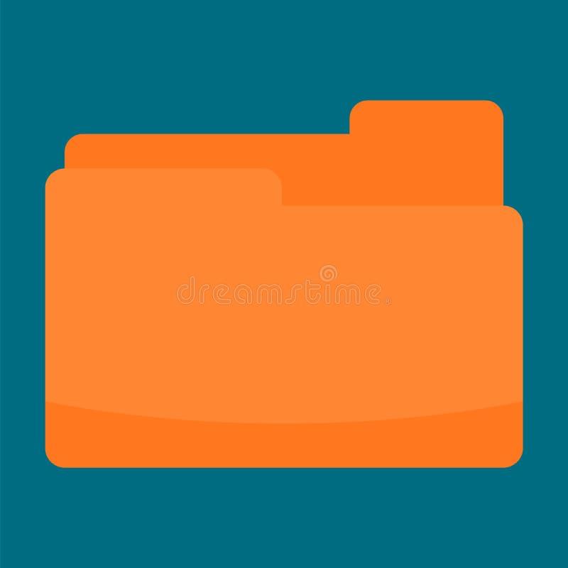 橙色文件夹象,平的样式 皇族释放例证