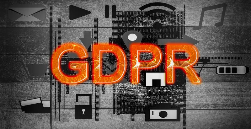 橙色文本,GDPR一般数据关于su的保护章程 库存例证